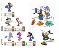 Ukraine 2018, Roller Skates, Disney Cartoon Characters, Sheetlet Of 6v - Ukraine