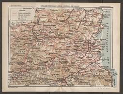 CARTE PLAN 1927 - PYRÉNÉES - QUILLAN PERPIGNAN AMÉLIE Les BAINS LE CANIGOU - ROUTES Et CHEMINS TOURISTIQUES - Mapas Topográficas