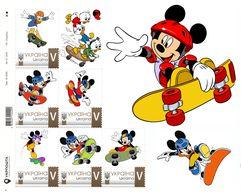 Ukraine 2018, Skateboarding, Disney Cartoon Characters, Sheetlet Of 6v - Ukraine