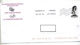 Lettre Flamme  Chiffree Sous Code  Sur Argent Illustré Quartz Coquillage Mamouth - Marcophilie (Lettres)