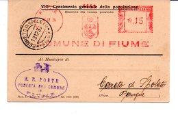 1936 EMA Affrancatura Meccanica Rossa Freistempel Fiume Comune Di Fiume Stemma - Marcophilie - EMA (Empreintes Machines)