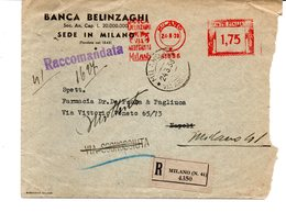 1938 EMA Affrancatura Meccanica Rossa Freistempel Milano Banca Bellinzagi Su Raccomandata X Napoli Rispedita A Milano - Machine Stamps (ATM)
