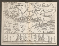 CARTE PLAN 1927 - ROUTE Des PYRÉNÉES - HAUTEURS En METRES - BIARRITZ PAMPLONA HUESCA BARBASTRO GERONA - Mapas Topográficas
