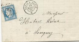 LETTRE 1876 AVEC TIMBRE AU TYPE CERES ET CACHET P. B. R. PARIS A BREST - Poste Ferroviaire