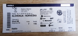 Football Ticket LEAGUE OF NATIONS Slovenia : Norway  16.11.2018 Stadium Stozice Ljubjlana - Tickets D'entrée