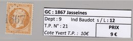 GC 1867 Jasseines ( Dept 9 ) S / N° 21 - Marcophilie (Timbres Détachés)