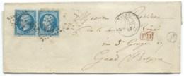 PAIRE N° 22 BLEU NAPOLEON SUR LETTRE / LILLE NORD POUR GAND BELGIQUE / 1863 / FRANCO PAR MOUSSON / ST REGIS - 1849-1876: Période Classique