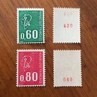 Lot De 2 Timbres De ROULETTE 1974 - MARIANNE DE BECQUET N° 1815b Et 1816c - N° Rouge - NEUFS ** MNH - Roulettes