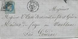 LETTRE 1868 AVEC TIMBRE AU TYPE NAPOLEON ET CACHET GROS CHIFFRES 2539 DE MORLAIX - Marcophilie (Lettres)