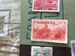 CINA VITA IN CAMPAGNA ROSSO 1 VALORE - Stamps