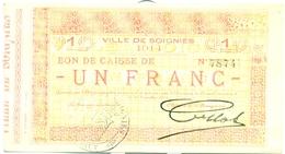 VILLE DE SOIGNIES 1 FRANC 24 DECEMBRE 1914 - [ 3] Occupazioni Tedesche Del Belgio