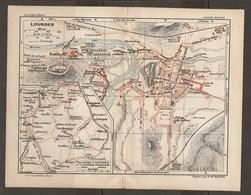 CARTE PLAN 1927 - LOURDES - BASILIQUE GROTTES Des ESPÉLUGUES PISCINES CALVAIRE HALTE De SOUM HALLES GAZ TRAMWAYS - Mapas Topográficas