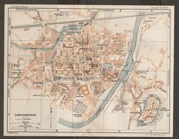 CARTE PLAN 1927 - CARCASONNE - LA CITÉ RÉSERVOIR CASERNES MAISONS Du FOYER MOULIN Du ROI - Mapas Topográficas