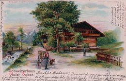 Schweizerhaus, Chalet Suisse, Attelage De Chiens, Carte METEOR Avec Effet De Lumière, Cachet 9.9.99 (9.9.1899) - Contraluz