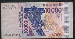 W.A.S. BENIN P218Bp 10000 FRANCS (20)16 VF NO P.h. - Benin