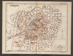 CARTE PLAN 1927 - NARBONNE - STADE FOOTBALL USINE à GAZ MARCHÉ Aux BESTIAUX STAND THÉATRE CASERNES - Mapas Topográficas