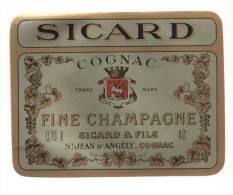 Etiquette De  Cognac  Fine Champagne  -  Sicard - Etichette