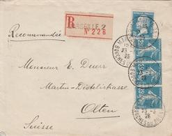 France Lettre Recommandée Marseille Pour La Suisse 1925 - Marcofilia (sobres)