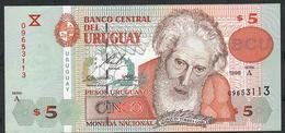 URUGUAY P80 5 PESOS URUGUAYOS 1998 SERIE A    AU - Uruguay