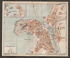 CARTE PLAN 1927 - SAN SEBASTIEN LA CONCHA - BAINS La PERLA KURSAAL MARITIME THÉATRE PORT PECHEURS CERCLE NAUTIQUE - Mapas Topográficas