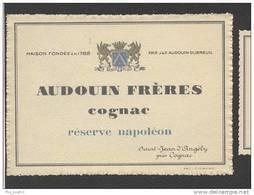 Etiquette De Cognac Réserve Napoléon   -  Audouin Fres  à Saint Jean D'Angély - Etichette