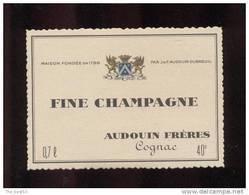 Etiquette De   Fine  Champagne  -  Audouin  à  Saint Jean D'Angély  (17)  -  9.3 X 6.7 Cm - Etichette