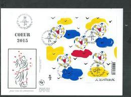 Enveloppe FDC Bloc BF 136 Coeur 2015 JC DE Castelbajac - Oblitérés