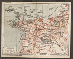 CARTE PLAN 1927 - BIARRITZ - CASINO BELLEVUE BAINS BAINS DAMES CASINO MUNICIPAL NOMBREUSES VILLAS - Cartes Topographiques