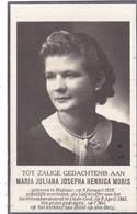 Bidprentje Bombardement Moortsel -05.04.1943 - Oorlogslachtoffer MORIS Maria °Hallaar- +Oude God - Begraven Heist De Ber - Godsdienst & Esoterisme