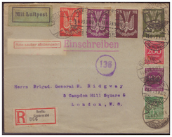 Dt- Reich (006530) Einschreiben Luftpost Gelaufen Nach London An Brig. General Ridgway Vom Berlin Am 15.6.1923 - Storia Postale