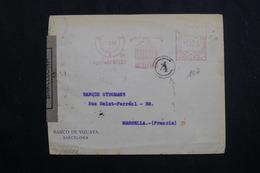 ESPAGNE - Enveloppe Commerciale De Barcelone En 1944 Avec Contrôles Postaux, Affranchissement Mécanique - L 61767 - 1931-50 Briefe U. Dokumente