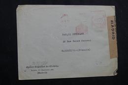 ESPAGNE - Enveloppe Commerciale De Madrid En 1943 Avec Contrôles Postaux, Affranchissement Mécanique - L 61768 - 1931-50 Briefe U. Dokumente