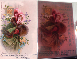 Jeune Fille Et Fleurs, Carte Avec Effet De Lumière, Publicité PILLOLE CATRAMINA BERTELLI TOSSE CATARRO (31.12.1904) - Contraluz