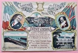 CP 62 BOULOGNE SOUVENIR DES FETES MUSICALES 1907 PUBLICITE GALERIE RUE THIERS ET V HUGO - Recepciones