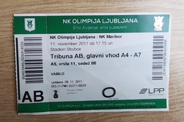 Slovenia Football Ticket NK Olimpija : NK Maribor 11.11.2017 Slovenian League Stadium Stozice Ljubljana - Tickets D'entrée