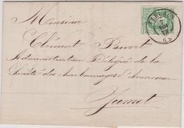 Lettre  N° 30 DC Fleurus 1873 Vers Jumet A.Bivort Escompte Et Recouvrements - 1869-1883 Leopold II