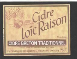 Etiquette De Cidre Breton Traditionnel -  Loïc  Raison  à  Domagné  (35) - Etichette