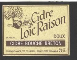 Etiquette De Cidre Doux -  Loïc  Raison  (fond Jaune ) -  à Domagné  (35) - Etichette