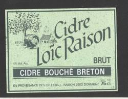 Etiquette De Cidre Brut -  Loïc  Raison   à Domagné  (35) - Etichette