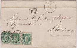 Lettre  N° 30 DC Mons (Station) 1873 Vers Bordeaux France - 1869-1883 Leopold II