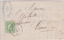 Lettre  N° 30 DC Alost - Aalst  L.Pauwelaert Banque Vers Lierre 1874 - 1869-1883 Leopold II