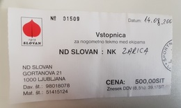 SOCCER Football Ticket ND Slovan Slovenia Slovenian Lower League - Tickets D'entrée