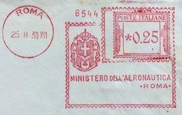 """AFFRANCATURA ROSSA  """"MINISTERO DELL'AERONAUTICA """" ROMA 23/8/38  L.0,25 SU BUSTA PER ROMA - Autographs"""