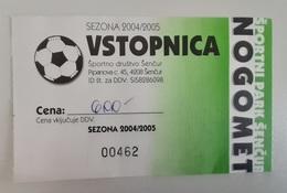 SOCCER Football Ticket NK Sencur Slovenian 3nd League Slovenia - Tickets D'entrée