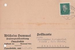 Deutsches Reich Firmenkarte Wilhelm Hummel Papiergroßhandlung 1930 Osnabrück - Covers & Documents