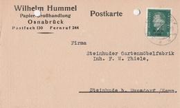 Deutsches Reich Firmenkarte Wilhelm Hummel Papiergroßhandlung 1930 Osnabrück Konto - Covers & Documents