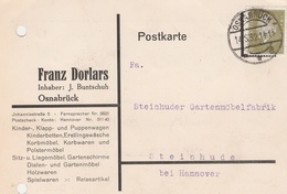 Deutsches Reich Firmenkarte Franz Dorlars Puppenwagen 1932 Osnabrück - Covers & Documents