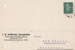 Deutsches Reich Firmenkarte J R, Erdbrink Eisenwaren 1929 Osnabrück - Covers & Documents
