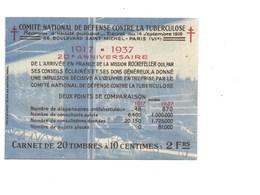 TUBERCULOSE Carnet France INDOCHINE 1 SOU Antituberculeux 1937 CHOCOLAT SUCHARD Gomme Parfaite 5 Scans VOIR DESCRIPTION - Antituberculeux