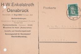 Deutsches Reich Firmenkarte H W Enkelstroth 1928 Wiertebedarf Osnabrück - Covers & Documents